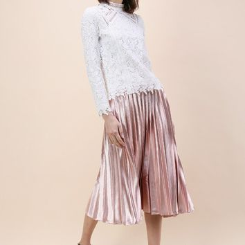 Sweetest Sheen Pleated Midi Skirt in Pink