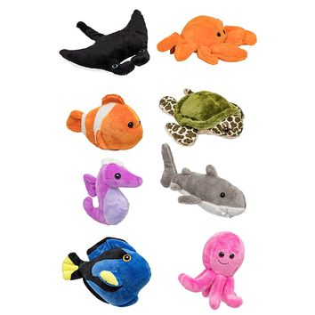 "8 Pack Under the Sea Mini 4"" Stuffed Animals, Variety of Ocean Animal Toys, Sea Party Favors for Kids"