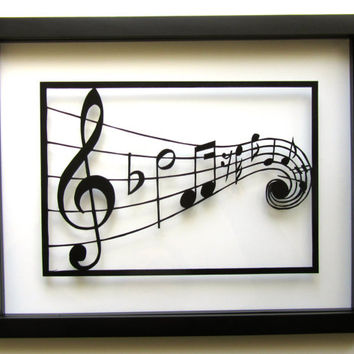 MUSIC Notes Silhouette Paper Cutout in Black GRADUATION Gift Wall and Home Décor ORIGINAL Design 4 Music Lovers SIGNeD Handmade Framed OOaK