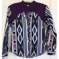 Roughrider Vintage Cutout Western Shirt Aztec Tribal Cowgirl Rodeo Blue Pink S