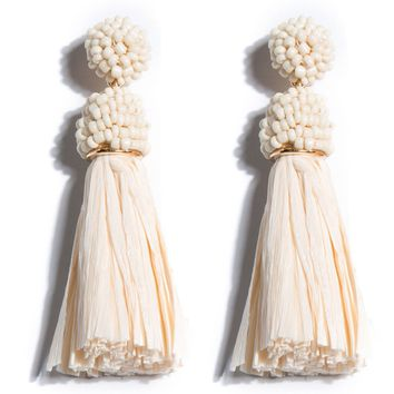 Serafina Raffia Tassel Earrings