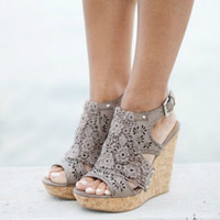 Fashion Women Sexy Vintage Taupe Wedges Classy