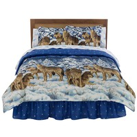 Midnight Wolves Bed Set (Blue)