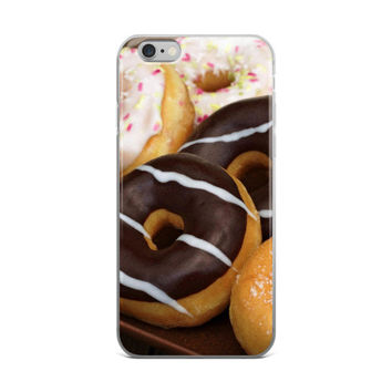 Donuts Collage Sweets Dessert Food Lover White Pink & Brown iPhone 4 4s 5 5s 5C 6 6s 6 Plus 6s Plus 7 & 7 Plus Case