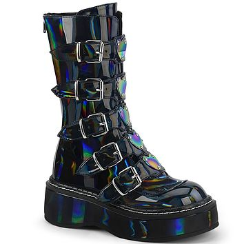 Emily 330 Goth Black Hologram Patent Ankle Boots Heart Plate Combat Boots 6-12