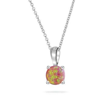 1CT Solitaire Pink Created Opal Pendant 925 Sterling Silver Necklace