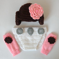 Princess Leia Set 3pcs Baby Hat , Diaper Cover And Leg Warmers From Star Wars Newborn Crochet Photo Prop Baby Girl Hat Halloween / Cosplay