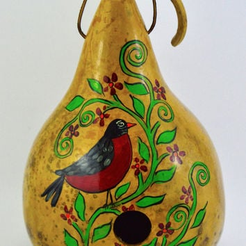 Gourd Birdhouse with Hand painted Robin Perfect for the Garden