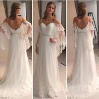 Modest Beach Wedding Dress 2017 Sweetheart Spaghetti Straps Boho Wedding Gown Appliques Summer Bridal Gowns hochzeitskleid