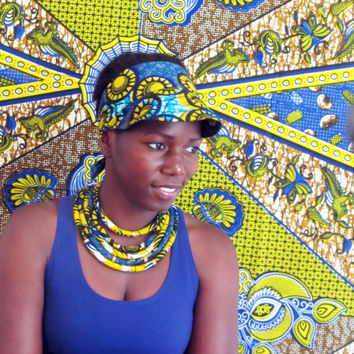 Yellow and blue necklace/ African tribal necklace/ bib necklace