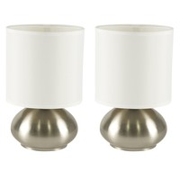 Touch Lamps - Bedroom Side Table Lamps (Brushed Nickel)