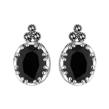 Onyx and Marcasite Earrings