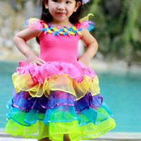 Rainbow Fairy Dress, Colorful Fairy costume, Dance costume, Girl's Dress, Birthday Dress