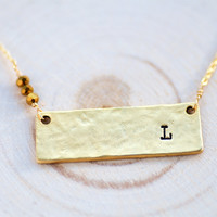 Personalized Initial Bar Necklace