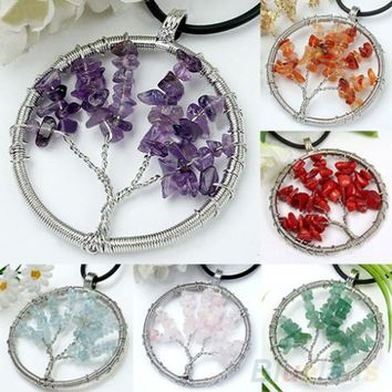 Bluelans Handmade Chips Wire Natural Life Tree Bead Pendant for Necklace 4PY9