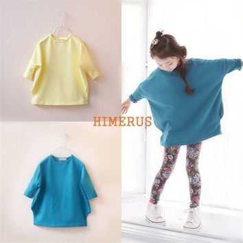 Children Kids Girls Spring Summer Elegant Beauty 3/4 Sleeve Cotton Solid Colors Yellow/Blue Casual Loose Batwing T-Shirt Tops = 1946499076