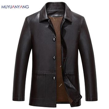 Leather And Suede Jacket Men Leather Jackets Faux Leather Coats For Man Turn Down Collar Thick Warm Clothes