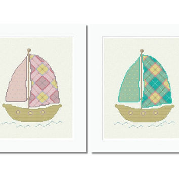 Cross Stitch Pattern Boat Scotch Plaid - PDF INSTANT DOWNLOAD