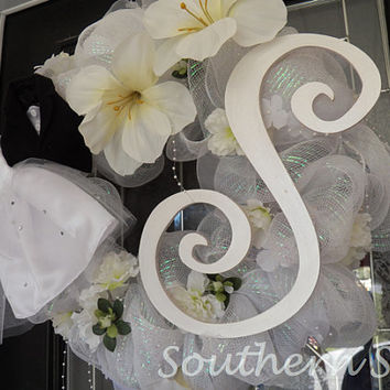 White Wedding Wreath, Shower Wreath, Decoration, Door Hanger Custom Order