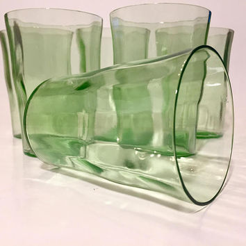 Green Depression Glass Tumblers, Set of 6 Green Glasses, Drinking Glasses, Paneled Glass Cups, Depressionware