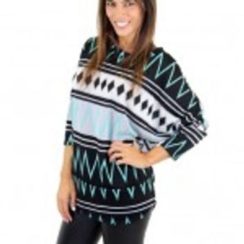 Black And Mint Printed Top