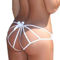 Simplicity Sexy Women Chicca White Ribbon Tie Panties
