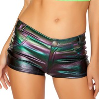 Dark Multicolored Holographic Button Booty Shorts