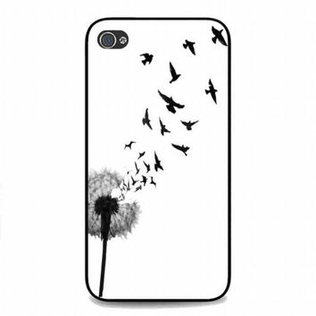 dandelion bird tattoo For iphone 4 and 4s case