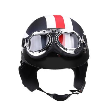 CARCHET Unisex Motorcycle Helmets with Goggles Open Face Helmet Protection Helmet for Harley 54-60cm High Quality Vintage Moto
