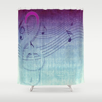 blue purple music grunge sounds Shower Curtain by Webgrrl