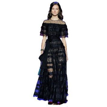 DCCKL3Z HIGH QUALITY New Fashion 2016 Runway Maxi Dress Women's Batwing Sleeve Black Lace Party Long Dress Plus size S-XXL
