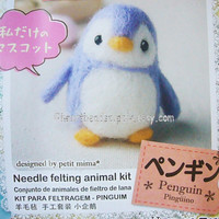 diy Needle felting kit - Penguin, with needle wool findings, easy, beginner, id1360228, cute  animal keychain diy, gift for DIYer, crafter