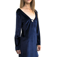 Velvet Blue Dress with Deep V-neck Cut