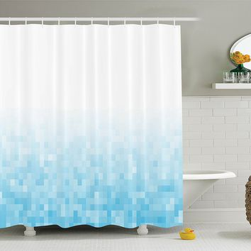 Ambesonne House Decor Collection, Sea Ocean Diamond Squares Image and Shapes Monochromatic Design Pattern, Polyester Fabric Bathroom Shower Curtain, 84 Inches Extra Long, Light Blue White