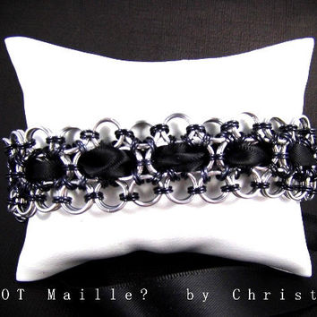 Bracelet - Black Satin Ribbon & Japanese Lace Chainmaille Cuff with Safety Chain