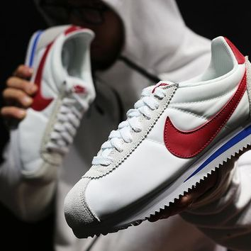 zz kuyou Nike Classic Cortez Men Women Sport Basketball Shoes White Red36-44