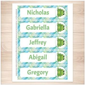 Personalized Adorable Frog Green and Blue Plaid Bookmarks - Printable