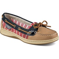 Women's Angelfish Breton Stripe Mesh Slip-On Boat Shoe in Linen, Navy, & Red by Sperry