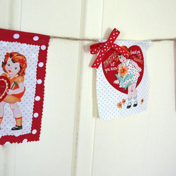 Valentines Banner - Fabric Banner - Valentines Garland - Valentines Bunting - Flags Pennants Shabby Chic Banner Retro Valentines Banner