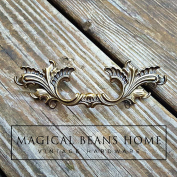 Small Shabby Chic Drawer Pulls KBC French Provincial Dresser Pulls Vintage Antique Brass Drawer Pull Cabinet Pull Handles Cottage Chic Pulls