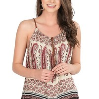 Pink Cattlelac Women's Coral and Cream Paisley Print Sleeveless Fashion Top