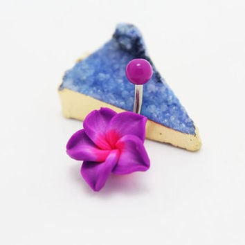 belly button ring bow bellyring cute purple flowers belly button piercing,friendship gift