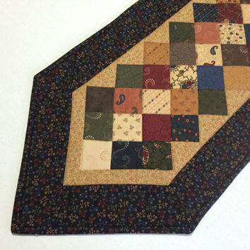 Primitive Quilted Table Runner, Quilted Table Topper, Country, Scrappy, Patchwork
