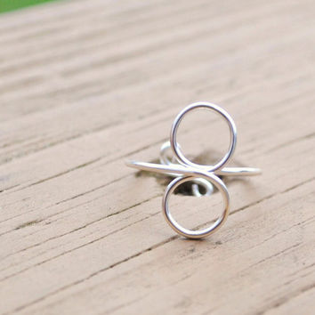 Wire Wrapped Ring Adjustable Non Tarnish Silver by KissMeKrafty