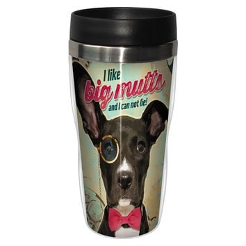 Big Mutts Artful Travel Mug - Premium 16 oz Stainless Lined w/ No Spill Lid