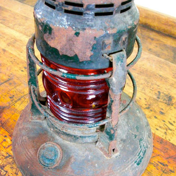 Vintage Lantern, Milwaukee Gas Light Co, Dietz No. 40, Traffic Gard, Signal Lantern, Red, Green, Rust