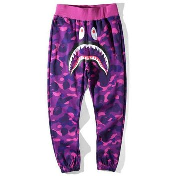 PEAPIH3 Bape Aape Shark Stylish Women Men Personality Camouflage Print Sport Pants Trousers Purple