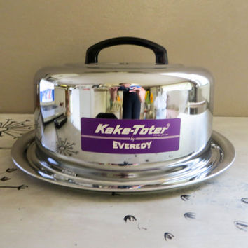 Everedy Kake Toter Chrome Cake Taker Cake Carrier Cake Plate Retro Cake Storage Covered Cake Plate Cake Tote Chrome Kitchen Retro Kitchen