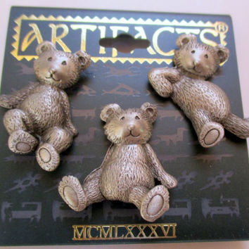 Vintage JJ pin brooch -Teddy Bear scatter pins- Artifacts 1986 collectible- unique gift  under 20