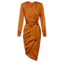Orange Deep V Neck Self Tie High Low  Dress